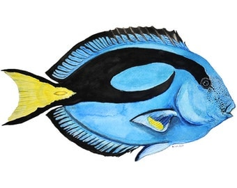 "Hippo Tang "" Dory""  8"" x 12"" Archival Giclee print of  an original Watercolor art"