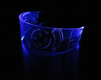 The original Illuminated Cyber goth visor Iron Man J.A.R.V.I.S. Clear **choose your LED colour**