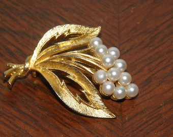Flower Brooch with Faux Pearls by JJ