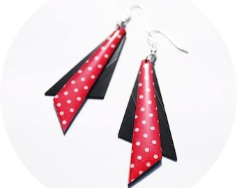 geometric earrings red earrings triangle earrings statement earrings geometric jewelry polka dot earrings long earrings statement jewelry