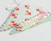 Paper Bunting Banner - Tea Party - Pastel Mint Green, Pink, Grey - 1.5m / 5ft Garland - Wedding, Shower Decoration - Florals, Spots, Stripes