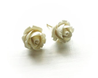 White Flower Stud Earrings - Cute Small Roses on Gold Posts