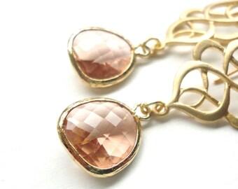 Gold Peach Dangle Earrings - Handmade Wedding Jewelry or Everyday Wear