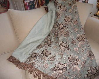 Jacobean Floral, Custom Throw Blanket, Blue Aqua Turquoise, Chenille Throws,  Luxurious Designer Throw,  Tapestry Throw, Sofa Throw, Bedding
