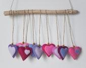 Felt hearts ornaments in pink, lavender, violet - set of 9, wedding favors, party favors, valentine