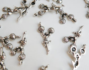 10 Cheerleader girl with pom pom charms antique silver 29x14mm DB02005