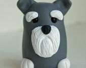 Polymer Clay Schnauzer Dog, Miniature Dog Figurine, Miniature Pet Figurine, Geekery Figurine, Polymer Clay Pocket Totem by Classon Creations