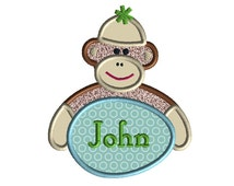 Easter Sock Monkey Applique Machine Embroidery Design-INSTANT DOWNLOAD