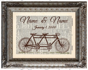 Bicycle Built for Two Customized with Names & Date on Vintage Upcycled Dictionary Art Print Book Art Print Wedding Anniversary Love Tandem