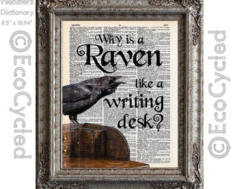 Raven Like a Writing Desk Alice in Wonderland Quote on Vintage Upcycled Dictionary Art Print Book Art Print Recycled Word Art Typography