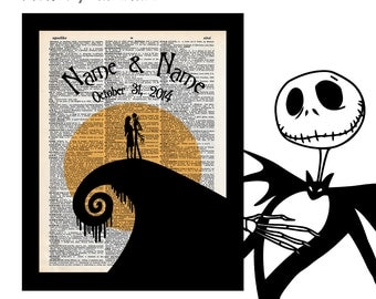 Nightmare Before Christmas 2 with Names & Date Jack Sally Custom on Vintage Upcycled Dictionary Art Print Book Art Print Anniversary Wedding