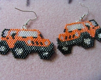 Hand Beaded Orange  Jeep earrings