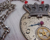 Part II Antique Watch Necklace (steampunk bride, steampunk fashion, womens fashion, vintage assemblage, repurosed, upcycled jewelry)