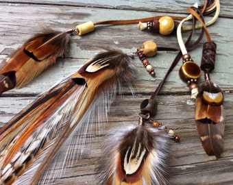 Gorgeous light brown, ginger and white braided leather feather headband belt lariat