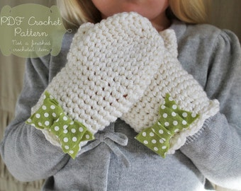 Crochet Pattern: The Dot Mittens -Toddler, Child, & Adult Sizes- bow scallop feminine winter felt polka dot