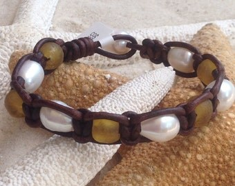 Freshwater pearl, recycled glass and woven leather bracelet. FREE shipping to US