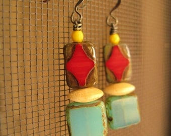 Tomato red and corn yellow earrings, hostess gift
