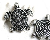 Turtle pendant bead, Antique Silver, Greek casting, large, Lead Free, 30mm - 1pc - F007