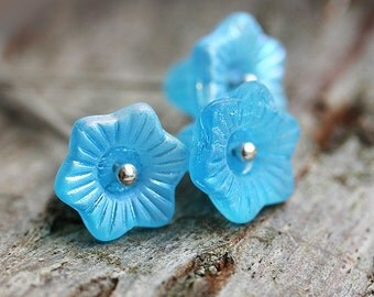 Aqua Blue Czech glass flower beads, 13mm Bell, large flowers, Matte finish - 6Pc - 1166