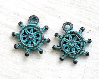 Sailor wheel charm, green patina on copper, Greek beads, ship wheel, nautical - 20mm - 2Pc - F067