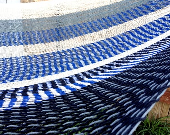 Ocean wave,Double size, Hand woven Mexican hammock, 100% thick cotton string