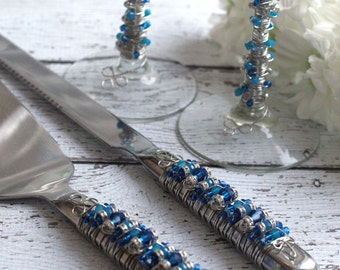 SWAROVSKI Cobalt Blue & Royal Blue Beaded Wedding Cake Servers and Toasting Flute Set by COUTURE Table, custom, bridal gift, champagne