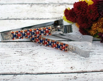 Orange, Blue, Gold Beaded Appetizer Tong TABLE SETTING, couture, dessert buffet, candy bar, bridal gift, birthday gift, special occasion