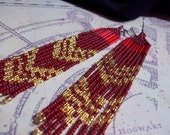 Red and Gold Long Beaded Fringe Earrings.
