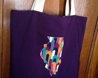 HOLIDAY SALE State Shape Graphic/Plum Handmade ILLINOIS Tote
