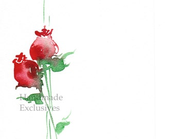 Handpainted Greeting card, Handmade card, red rose,  Wedding invitation, Watercolor Card, Any occasion,  Blank, Handmade Exclusives
