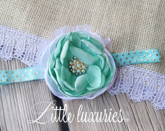 Gilded Mint - Mint, Gold, and White, Satin Flower, Gold and Mint Headband, Swiss Dot and Tulle accents, The Perfect Mint Headpiece