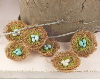 Prima Cradle Bird's Nest With Eggs ~Robin, Scrapbook Embellishment, Wedding, Home Decor, Party Decoration