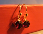 Garnet Earrings! Faceted, Red Garnets, Gold, Small Dangle Earrings! OOAK! January Birthstone, Birthday Gift, Anniversary Gift, Holiday Gift