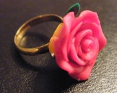 Flower Ring! Red Rose, Gold Plated, Adjustable Ring! OOAK! Polymer Clay Ring, Teen Girl Ring, Woman's Ring, Birthday Gift, Holiday Gift