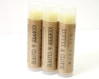 SHOP CLOSING SALE . Coffee Clove Lip Balm . Cocoa Butter and Beeswax . 100% Natural Lip Balm . Tube Lip Balm