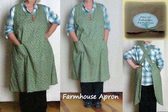 Apron Womens Full Apron size XLarge Repro Feedsack Print Vintage Style Apron Design 42-44 Gift Under 50