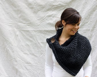 Chunky Cowl, Scarf, Shoulder warmer,shawl, Wrap, button, The Anatole Warmer - Charcoal