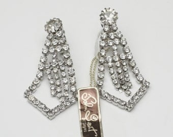 Vintage John Grant Designs Long Dangle Rhinestone Hollywood Glamour 1960's Costume Jewelry Mid Century Statement Earrings Gift For Her