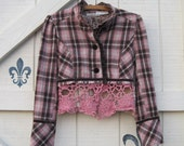 Plaid jacket pink, XS-S rustic tattered jacket, wool plaid, cropped tailored, upcycled jacket, brown pink wool plaid, velvet trimmed