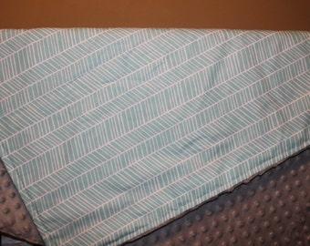 Baby Blanket - Herringbone with Minky Blanket -  Aqua Herringbone, Mint Herringbone, Navy Herringbone - Baby Blanket, Shower Gift-Ready Ship