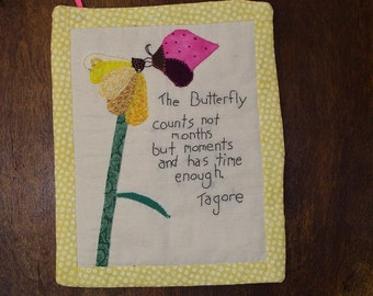 Wall quilt, butterfly with flower,  Butterfly quote
