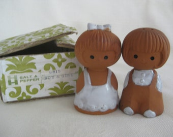 Vintage Holt Howard Tera Cota Boy and Girl Salt and Pepper Shakers in ORIGINAL BOX
