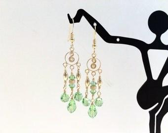 Fancy Gold Peridot Chandelier Earrings - FREE SHIPPING
