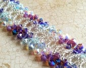 The Amelia- Violet and Sapphire Swarovski Crystal Bangle Bracelet with Silver Foil Seed Beads
