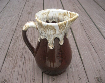 Roseville RRP Co Brown Drip Pitcher Vintage 1950s
