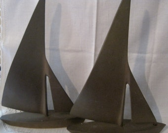 Vintage Brass Sailboat Bookends