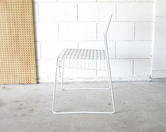 30% Off - Vintage White Modern Wire Chair - Bertoia Inspired Style - Modern Vintage Chair - Mid Century Chair