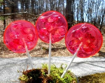 Gourmet Watermelon Rose Giant Lollipops Rose Petals Wedding Favors Custom Label
