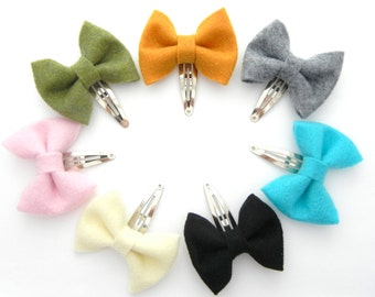 CLIP Collection: Felt Bow Snap Clip / Choose TWO