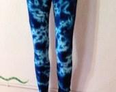 Women's Leggings, Brilliant Blue Leggings, Tie Dye, Yoga Leggings, Yoga Pants, Bohemian
